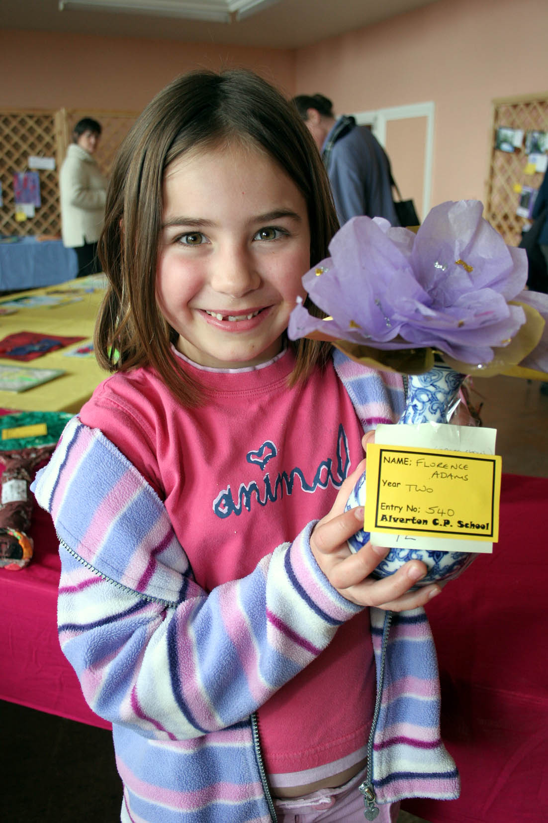 The 82nd West Cornwall Spring Show. Proud as punch. 7 year old Flo Adams from Alverton School with her Flower in a Vase. Pic by CIOSP For Fletch